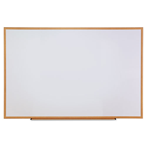Dry-Erase Board, Melamine, 72 X 48, White, Oak-Finished Frame