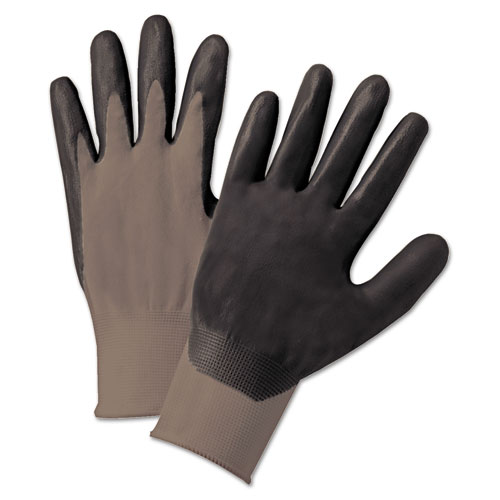 Nitrile Coated Gloves, Gray/dark Gray, Nylon Knit, Large, 12 Pairs