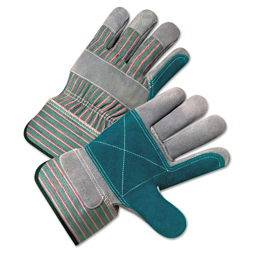 Image for 2000 Series Leather Palm Gloves, Gray/green/red, Large, 12 Pairs