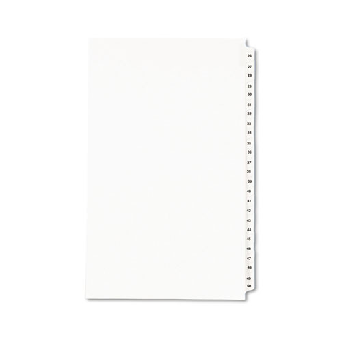 PREPRINTED LEGAL EXHIBIT SIDE TAB INDEX DIVIDERS, AVERY STYLE, 25-TAB, 26 TO 50, 14 X 8.5, WHITE, 1 SET
