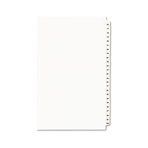 PREPRINTED LEGAL EXHIBIT SIDE TAB INDEX DIVIDERS, AVERY STYLE, 25-TAB, 76 TO 100, 14 X 8.5, WHITE, 1 SET