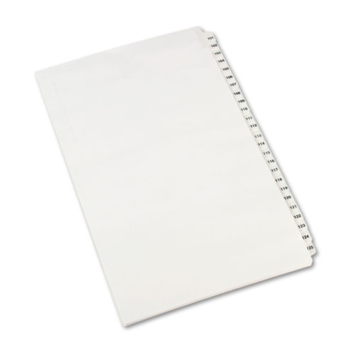 PREPRINTED LEGAL EXHIBIT SIDE TAB INDEX DIVIDERS, AVERY STYLE, 25-TAB, 101 TO 125, 14 X 8.5, WHITE, 1 SET