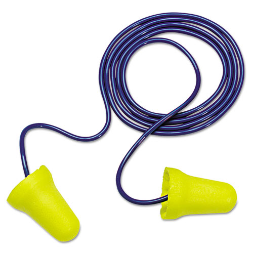 E A R E-Z-Fit Single-Use Earplugs, Corded, 28nrr, Yellow/blue, 200 Pairs