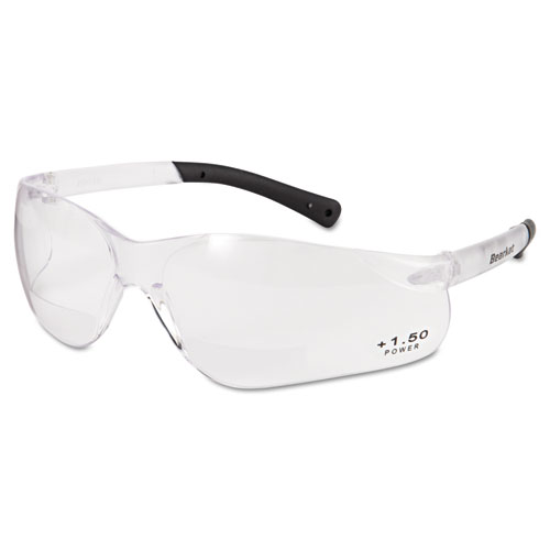 Bearkat Magnifier Safety Glasses, Clear Frame, Clear Lens