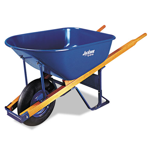 Image for CONTRACTOR'S WHEELBARROW, 6 CUBIC FEET CAPACITY, FLAT-FREE WHEEL, BLUE/NATURAL