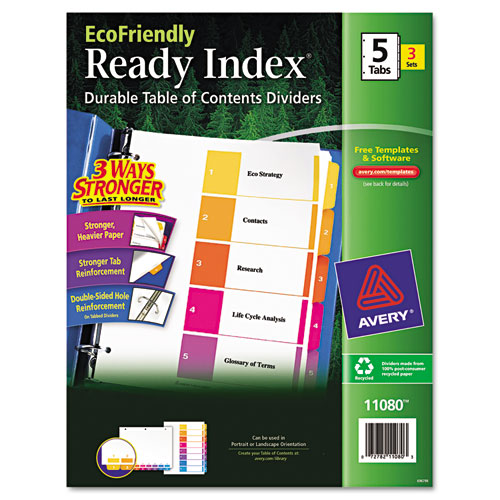 CUSTOMIZABLE TABLE OF CONTENTS READY INDEX DIVIDERS WITH MULTICOLOR TABS, 5-TAB, 1 TO 5, 11 X 8.5, WHITE, 3 SETS