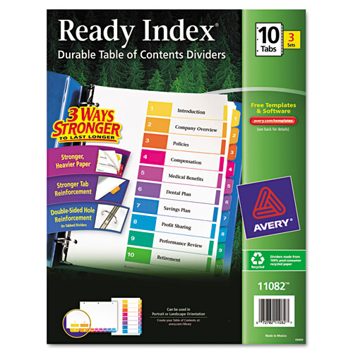CUSTOMIZABLE TABLE OF CONTENTS READY INDEX DIVIDERS WITH MULTICOLOR TABS, 10-TAB, 1 TO 10, 11 X 8.5, WHITE, 3 SETS