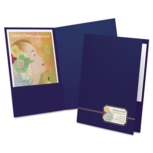 Monogram Series Business Portfolio, Cover Stock, Blue/gold, 4/pack