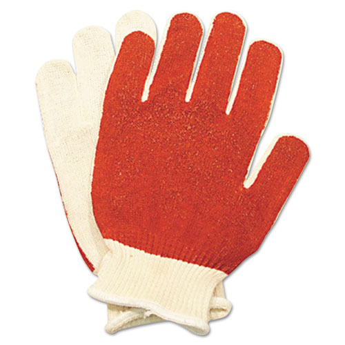 Smitty Nitrile Palm Coated Gloves, White/red, Medium, 12 Pairs