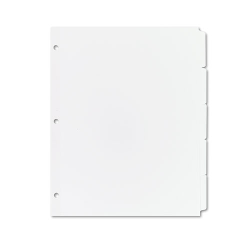WRITE & ERASE PLAIN-TAB PAPER DIVIDERS, 5-TAB, LETTER, WHITE, 36 SETS