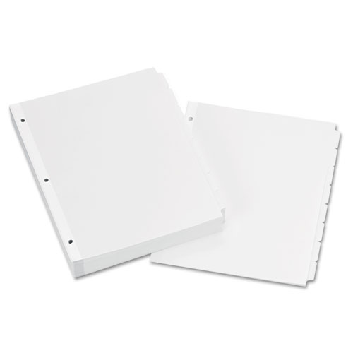 WRITE AND ERASE PLAIN-TAB PAPER DIVIDERS, 8-TAB, LETTER, WHITE, 24 SETS