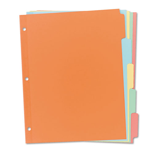 WRITE & ERASE PLAIN-TAB PAPER DIVIDERS, 5-TAB, LETTER, MULTICOLOR, 36 SETS