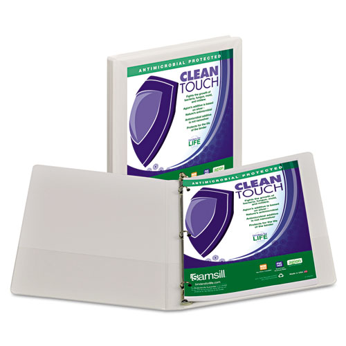 CLEAN TOUCH LOCKING ROUND RING VIEW BINDER PROTECTED W/ANTIMICROBIAL ADDITIVE, 3 RINGS, 0.5