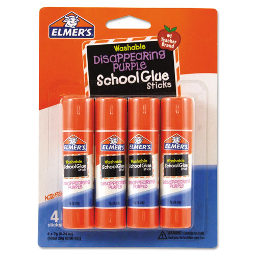 WASHABLE SCHOOL GLUE STICKS, 0.24 OZ, APPLIES PURPLE, DRIES CLEAR, 4/PACK