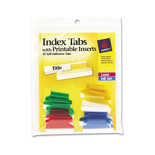INSERTABLE INDEX TABS WITH PRINTABLE INSERTS, 1/5-CUT TABS, ASSORTED COLORS, 1