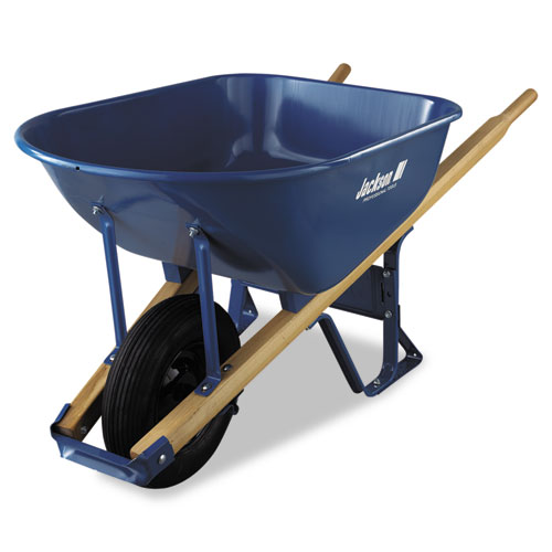 Image for CONTRACTOR'S WHEELBARROW, 6 CUBIC FEET CAPACITY, BALL BEARING WHEEL, BLUE/NATURAL