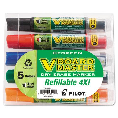 BeGreen V Board Master Dry Erase Marker, Medium Chisel Tip, Assorted Colors, 5/Pack