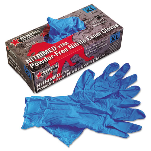 Nitri-Med Disposable Nitrile Gloves, Blue, X-Large, 100/box