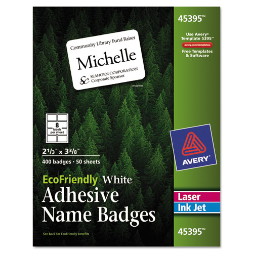 ECOFRIENDLY ADHESIVE NAME BADGE LABELS, 3.38 X 2.33, WHITE, 400/BOX