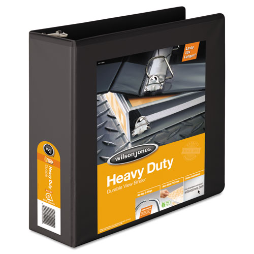 Wilsonjnes Heavy-duty D-ring View Binder W/extra-durable Hinge, 3 Cap, Black