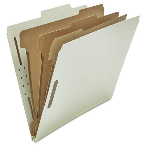 EIGHT-SECTION PRESSBOARD CLASSIFICATION FOLDERS, 3 DIVIDERS, LETTER SIZE, GRAY, 10/BOX