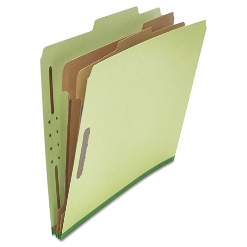 SIX--SECTION PRESSBOARD CLASSIFICATION FOLDERS, 2 DIVIDERS, LETTER SIZE, GREEN, 10/BOX