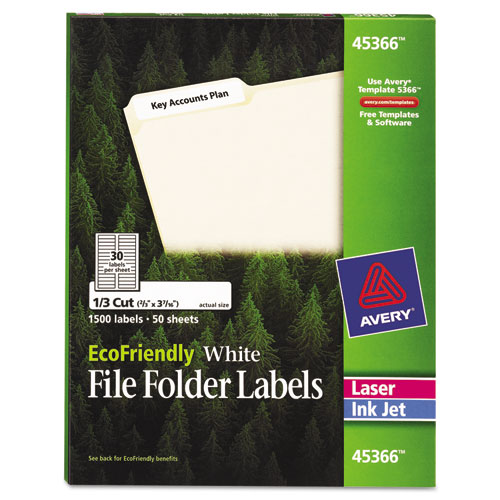 ECOFRIENDLY PERMANENT FILE FOLDER LABELS, 0.66 X 3.44, WHITE, 30/SHEET, 50 SHEETS/PACK