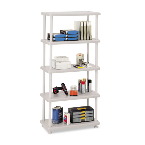 Iceberg Rough N Ready Five-shelf Open Storage System, Resin, 36W X 18D X 74H, Platinum
