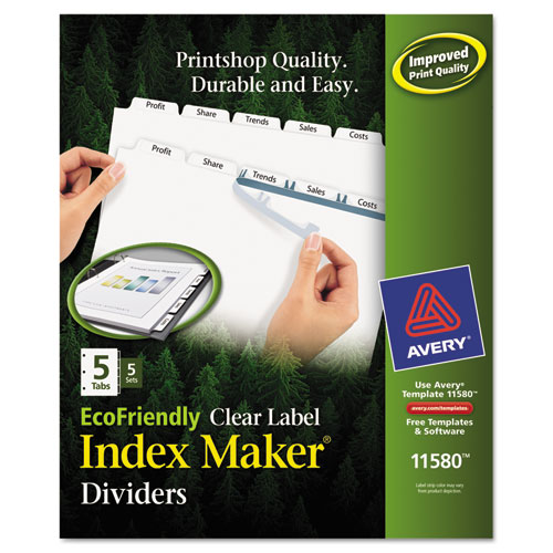 INDEX MAKER ECOFRIENDLY PRINT AND APPLY CLEAR LABEL DIVIDERS WITH WHITE TABS, 5-TAB, 11 X 8.5, WHITE, 5 SETS