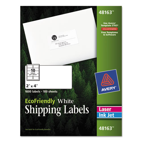 ECOFRIENDLY MAILING LABELS, INKJET/LASER PRINTERS, 2 X 4, WHITE, 10/SHEET, 100 SHEETS/PACK