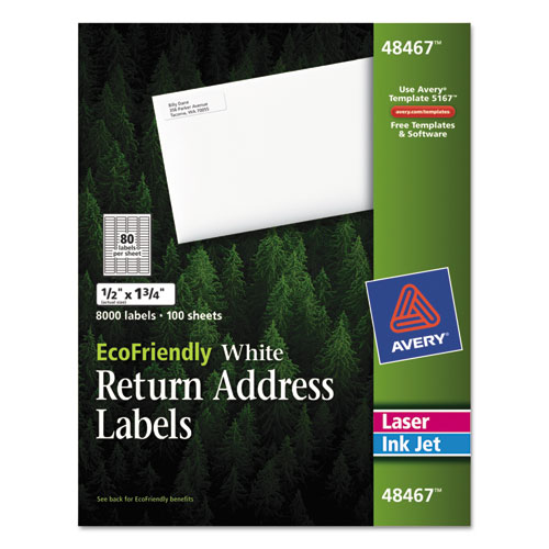ECOFRIENDLY MAILING LABELS, INKJET/LASER PRINTERS, 0.5 X 1.75, WHITE, 80/SHEET, 100 SHEETS/PACK