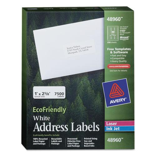 ECOFRIENDLY MAILING LABELS, INKJET/LASER PRINTERS, 1 X 2.63, WHITE, 30/SHEET, 250 SHEETS/BOX
