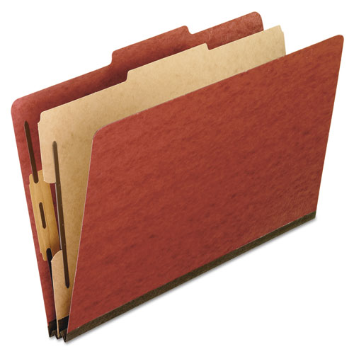 FOUR-, SIX-, AND EIGHT-SECTION PRESSBOARD CLASSIFICATION FOLDERS, 1 DIVIDER, EMBEDDED FASTENERS, LETTER SIZE, RED, 10/BOX