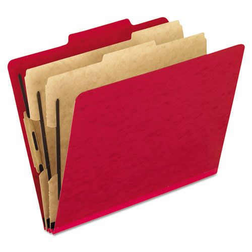 SIX-SECTION COLORED CLASSIFICATION FOLDERS, 2 DIVIDERS, LETTER SIZE, SCARLET, 10/BOX