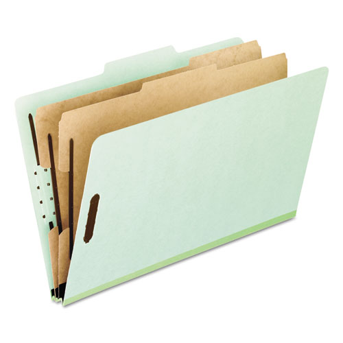 FOUR-, SIX-, AND EIGHT-SECTION PRESSBOARD CLASSIFICATION FOLDERS, 2 DIVIDERS, EMBEDDED FASTENERS, LETTER SIZE, GREEN, 10/BOX