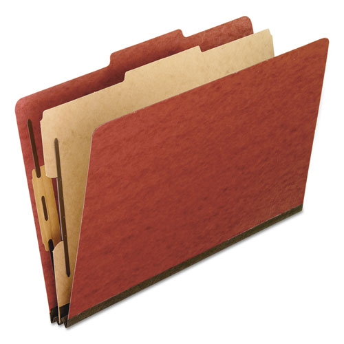 FOUR-, SIX-, AND EIGHT-SECTION PRESSBOARD CLASSIFICATION FOLDERS, 1 DIVIDER, EMBEDDED FASTENERS, LEGAL SIZE, RED, 10/BOX