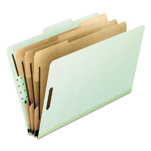 FOUR-, SIX-, AND EIGHT-SECTION PRESSBOARD CLASSIFICATION FOLDERS, 3 DIVIDERS, EMBEDDED FASTENERS, LETTER SIZE, GREEN, 10/BOX
