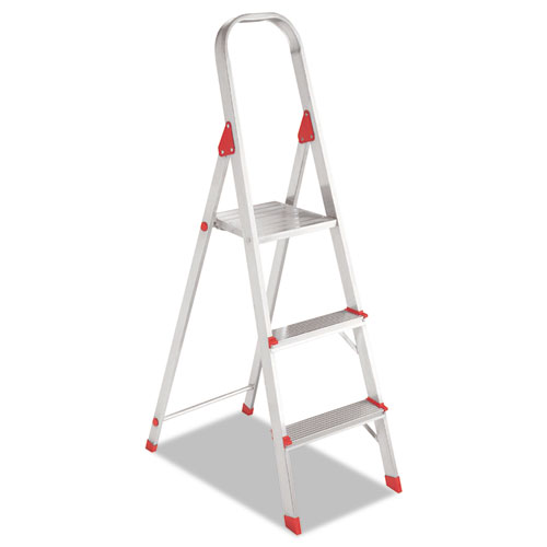 Image for ALUMINUM EURO PLATFORM LADDER, 8 FT WORKING HEIGHT, 200 LBS CAPACITY, 3 STEP, ALUMINUM/RED