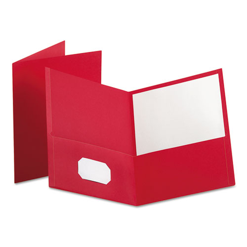 Twin-Pocket Folder, Embossed Leather Grain Paper, Red, 25/box