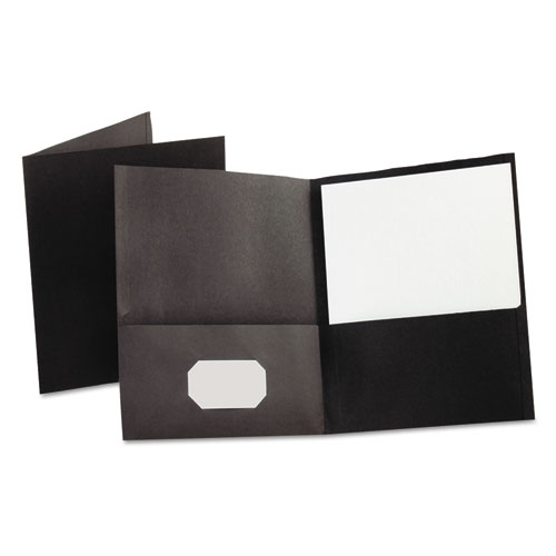 Twin-Pocket Folder, Embossed Leather Grain Paper, Black, 25/box