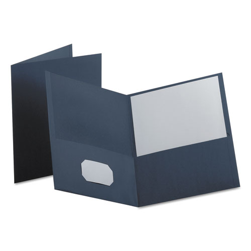 Twin-Pocket Folder, Embossed Leather Grain Paper, Dark Blue, 25/box