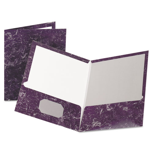 Marble Design Laminated High-Gloss Twin Pocket Folder, Purple, 25/box