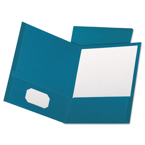 Linen Finish Twin Pocket Folders, Letter, Teal, 25/box