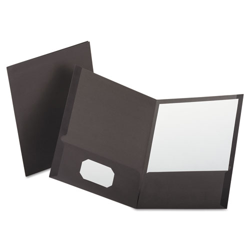 Linen Finish Twin Pocket Folders, Letter, Gray, 25/box