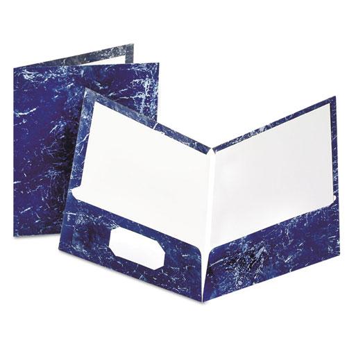 Marble Design Laminated High Gloss Twin Pocket Folder,navy, 25/box