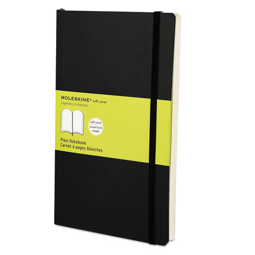 CLASSIC SOFTCOVER NOTEBOOK, 1 SUBJECT, UNRULED, BLACK COVER, 8.25 X 5, 192 SHEETS
