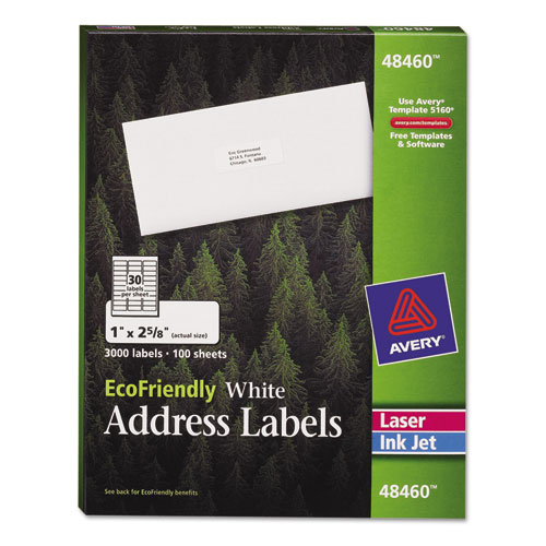 ECOFRIENDLY MAILING LABELS, INKJET/LASER PRINTERS, 1 X 2.63, WHITE, 30/SHEET, 100 SHEETS/PACK