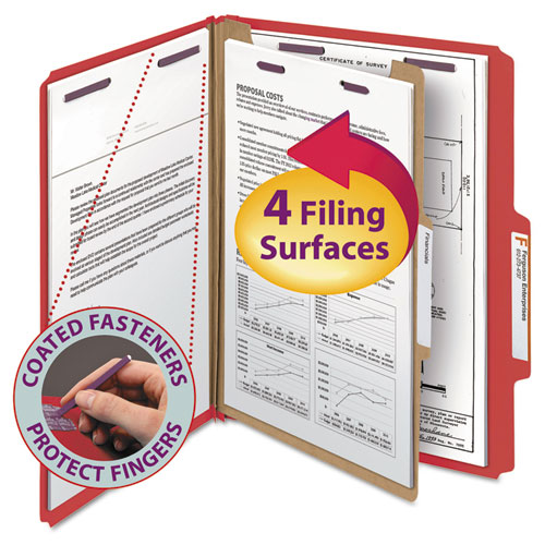 FOUR-SECTION PRESSBOARD TOP TAB CLASSIFICATION FOLDERS WITH SAFESHIELD FASTENERS, 1 DIVIDER, LETTER SIZE, BRIGHT RED, 10/BOX