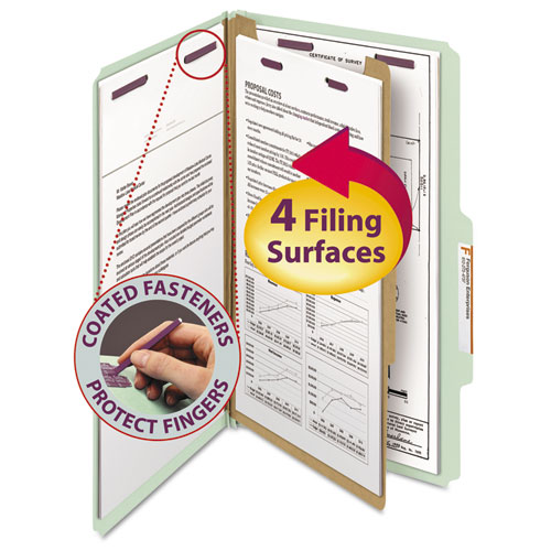 PRESSBOARD CLASSIFICATION FOLDERS WITH SAFESHIELD COATED FASTENERS, 2/5 CUT, 1 DIVIDER, LEGAL SIZE, GRAY-GREEN, 10/BOX