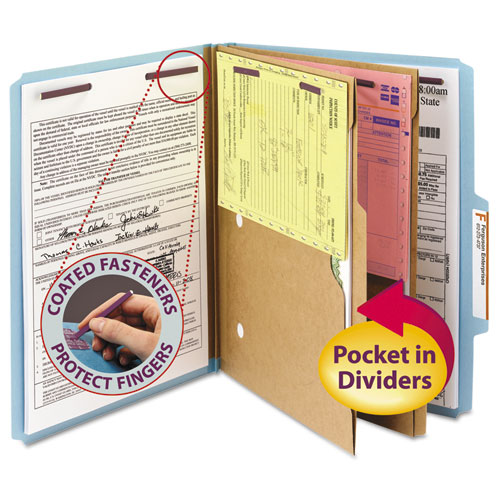 6-SECTION PRESSBOARD TOP TAB POCKET-STYLE CLASSIFICATION FOLDERS WITH SAFESHIELD FASTENERS, 2 DIVIDERS, LETTER, BLUE, 10/BOX